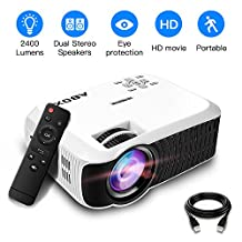 2018 Newest GooBang Doo ABOX T22 2400 Lumens Mini Portable Projector,1080p HD Multimedia Home Theatre LCD Projector Support Keystone Correction and HDMI USB SD Card VGA AV Input for TV/Laptop/PS4/Xbox/Android Box etc--Free HDMI Cable