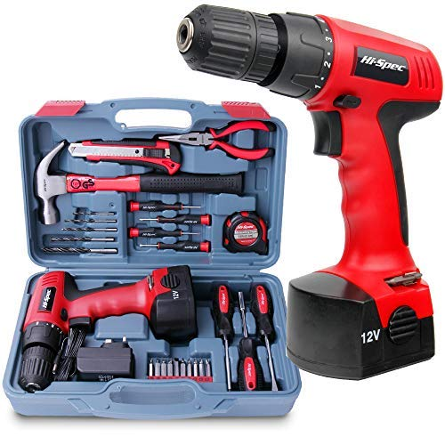 Hi-Spec 26 Piece Household Tool Kit Including 12V Cordless Drill Driver with 800 mAh Ni-MH Rechargeable 16 Position Keyless Torque Clutch, Variable Speed Switch, Drill & Screwdriver Accessory Set