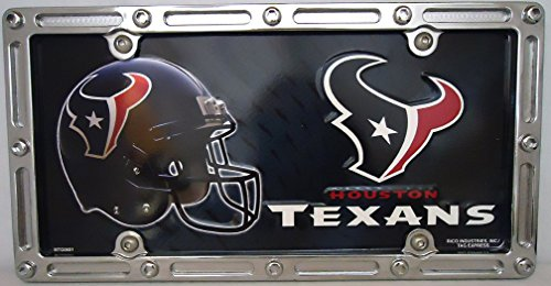 1 , Football Sign of the , Houston Texans , Metal Sign, in a Metal Slotted Rim Holder,+6A2.8+27A5.2+