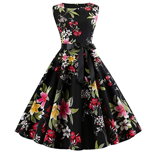 Toimothcn Women's Vintage Sleeveless Floral Print Casual Evening