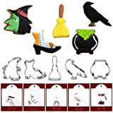 Halloween Cookie Cutters with Matching Cookie Stencils - Set of 10-5Pcs Cookie Cutter and 5Pcs Stencils, Include Witch Head, Boot, Broom, Crow and Jack-o-lantern