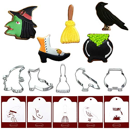Halloween Cookie Cutters with Matching Cookie Stencils - Set of 10-5Pcs Cookie Cutter and 5Pcs Stencils, Include Witch Head, Boot, Broom, Crow and -