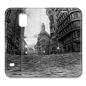 Brain114 Fashion Style Case Design Flip Folio PU Leather Cover Standup Cover Case with City Flood Pattern Skin for Samsung Galaxy S5 I9600