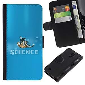 """A-type (Ciencia Lucha"""") Colorida Impresión Funda Cuero Monedero Caja Bolsa Cubierta Caja Piel Card Slots Para Samsung Galaxy S4 IV I9500"""