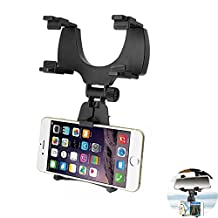 Car Phone Holder, Leagway Car Rearview Mirror Mount Stand Holder Cradle Clip for iPhone iPhone X / 8 / 8 Plus / 7 / 7 Plus / 6 / 6s Plus, Samsung Galaxy, Blackberry, Smartphones, GPS.