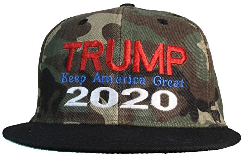 Tropic Hats Adult Embroidered Trump 2020 Keep America Great Flat Bill Snapback - Camouflage W/Black ()