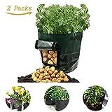 Grow Bags, WonderfulSky 2-Pack 7 Gallon Garden Potato Grow Bag Vegetables Planter Bags with Handles and Access Flap for Grow Vegetables: Potato, Carrot & Onion - Heavy Duty & Durable(Dark Blue)
