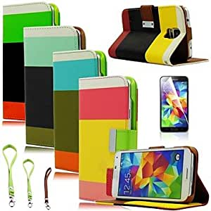 HJZ Samsung S5 I9600 compatible Solid Color PU Leather Full Body Cases , 3#
