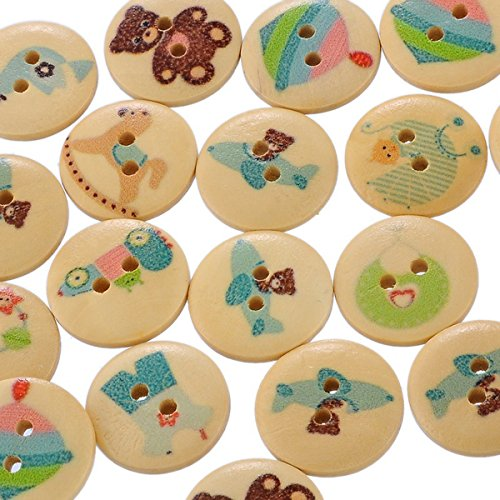 HOUSWEETY 100PCs Wooden Buttons Natural Baby Care Pattern 2-hole Sewing Scrapbooking DIY