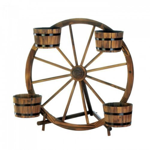 Wagon Wheel Barrel Planter Display for sale  Delivered anywhere in USA