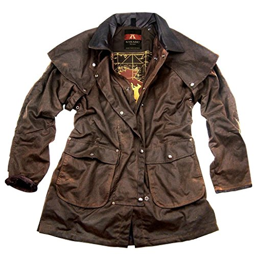 Kakadu Traders Iron Bark Jacket, made from our MicroWax Oilskin