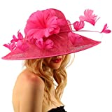 Demure Dome Sinamy Butterfly Floral Feathers Derby Floppy Dress Wide Hat Hot Pink