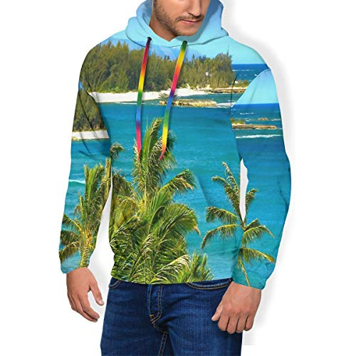 Fleece Pullover Hawaii Blue Ocean Blue Sky Mens Hoodies Drawstring Casual Pouch Pocket Boys Unique