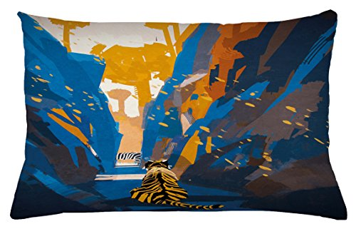 Ambesonne Fantasy Throw Pillow Cushion Cover, African Tiger in City Streets Narrow Walls Digital Wilderness Jungle Savannah, Decorative Accent Pillow Case, 26 W X 16 L inches, Orange Blue