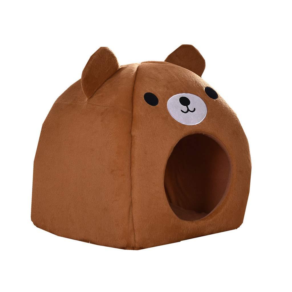 BROWN 383843cm BROWN 383843cm C_-1X Pet House, Pet Bed, Pet Nest, Yurt Puppy Nest, Dog House, Cotton House Cat Litter, (Brown) (color   Brown, Size   38  38  43cm)