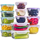 BAYCO [13 Pack] Food Storage Containers with Lids, Plastic Food Containers with Lids, Leak Proof Airtight Storage Container Sets for Kitchen, Easy Snap Lock Lunch Box, BPA-Free