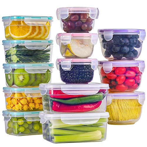 BAYCO [13 Pack] Food Storage Containers with Lids, Plastic Food Containers with Lids, Leak Proof Airtight Storage Container Sets for Kitchen, Easy Snap Lock Lunch Box, BPA-Free (For Storage Freezer Container)