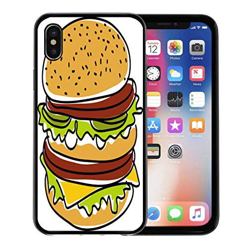 Semtomn Phone Case for Apple iPhone Xs case,Red Macdonald Hamburger Burger American Beautiful Beef Box Bread for iPhone X Case,Rubber Border Protective Case,Black