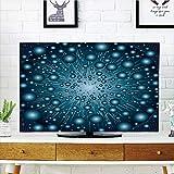 iPrint LCD TV Cover Multi Style,Fantasy,Digital Explosion Computer Art Futuristic Dots Circular Spots Galaxy Energy Image,Petrol Blue,Customizable Design Compatible 55'' TV