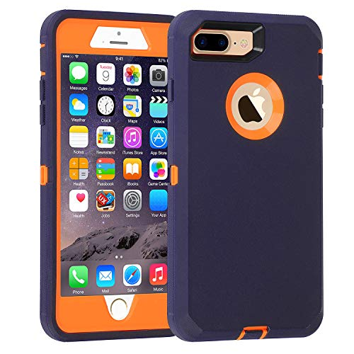 smartelf Case for iPhone 7 Plus/8 Plus Heavy Duty With Built-in Screen Protector Shockproof Dust Drop Proof Protective Cover Hard Shell for Apple iPhone 7+/8+ 5.5 inch-Blue/Orange