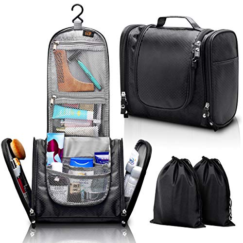 Hanging Toiletry Bag, ELV Large Travel Toiletry Bag Kit Organizer Washable Portable Waterproof Cosmetic Makeup Bag for Bathroom Shower, Gym, Camping for Women & men with 2 Pcs Shoe bags (BLACK)