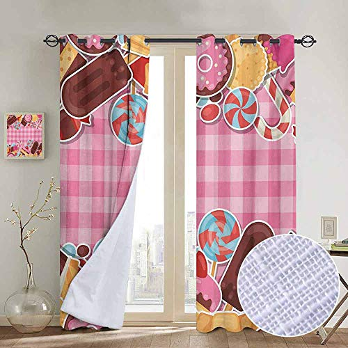 (NUOMANAN Customized Curtains Ice Cream,Candy Cookie Sugar Lollipop Cake Ice Cream Girls Design,Baby Pink Chestnut Brown Caramel,Blackout Draperies for Bedroom Living Room 52