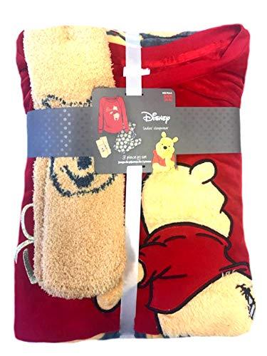 Winnie The Pooh Socks - Disney WinnieThePooh Womens Ladies Sleepwear PJs Pajamas Set Shirt Pants & Socks (Large 12-14)
