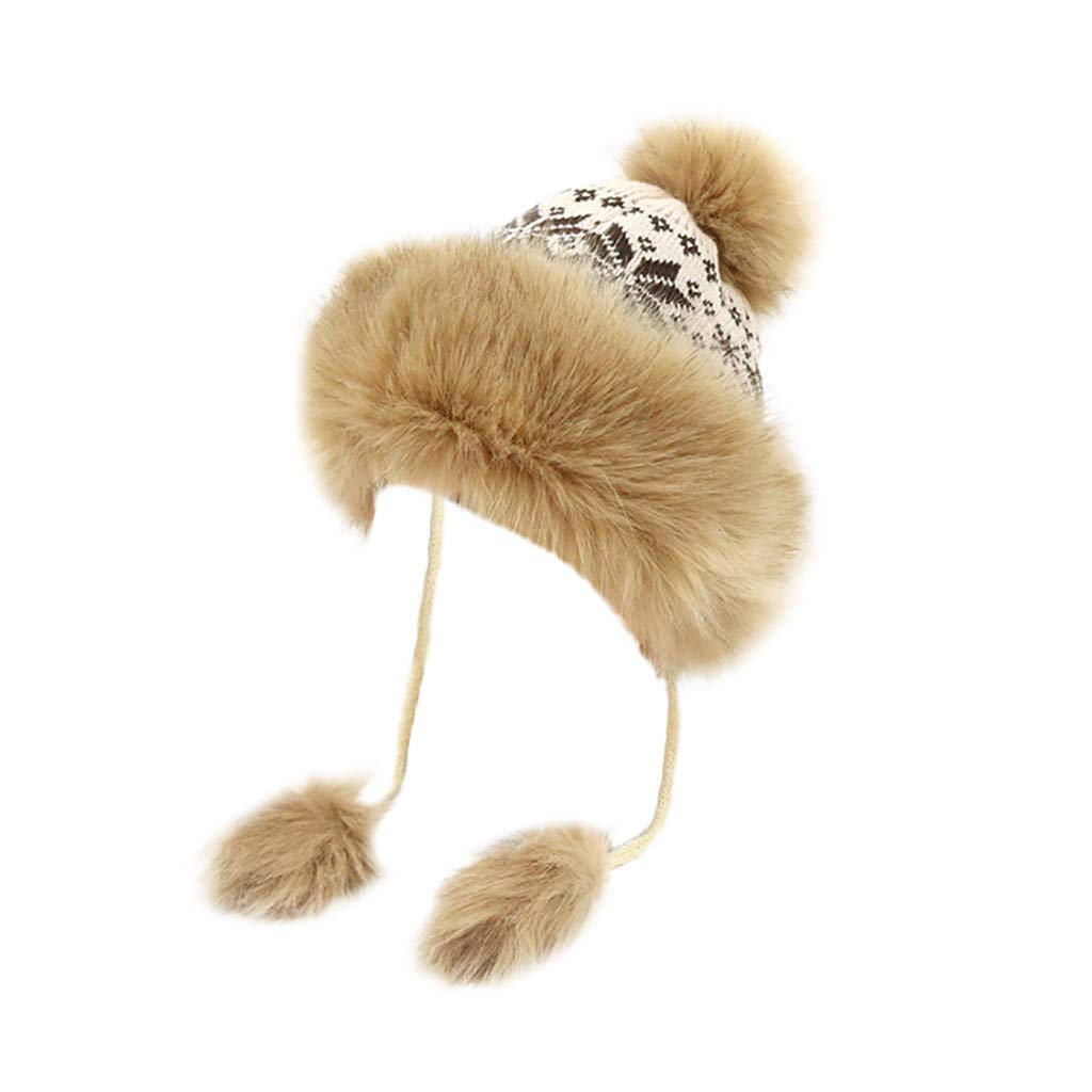 Gallity Women Luxury Pom Pom Hat Winter Fleece Lined Bobble Beanie Hat with  Faux Fur Trim (A) at Amazon Women s Clothing store  11e64e87b6a