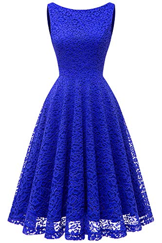 Bbonlinedress Women's Short Floral Lace Bridesmaid Dress V-Back Sleeveless Formal Cocktail Party Dress Royal Blue 3XL ()