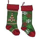 "Kurt Adler 18"" Red & Green Knit Stocking 2 Assorted"