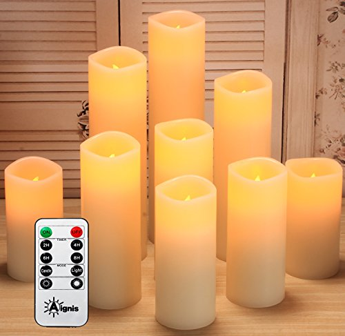 Flameless Candles 4'5'6'7'8'9' Set of 9 Battery Candle Ivory Dripless Real Wax Pillars Include Realistic LED Flames and 10-key Remote Timer By Aignis