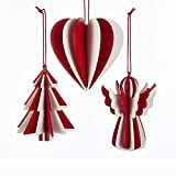 Pack of 12 Red and White 3-Dimensional Heart, Tree and Angel Wooden Christmas Ornaments 3.25""