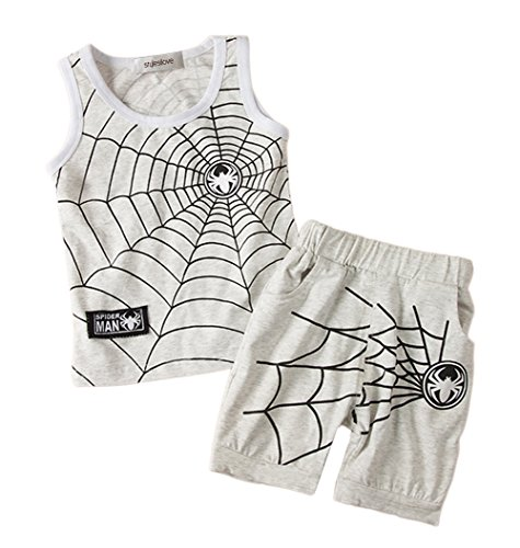 (stylesilove Spider-Man 2-pc Baby Boy Tank Top and Shorts (100/12-18 Months, Light)