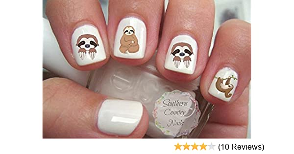 Amazon Com Cute Animal Sloth Nail Art Decals Beauty