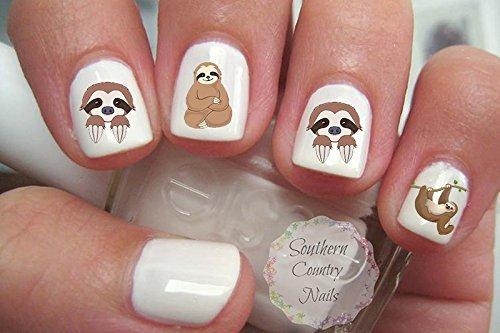 Cute Animal Sloth Nail Art Decals Southern Country Nails