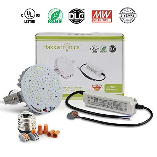 Hakkatronics 60W LED Retrofit Light Kit, 300W MH/HPS/HID Equivalent, Replaces for Shoebox, Flood Light, Wall Pack, Canopy and High Bay Fixture, 5500K Daylight White, UL/DLC Listed, 10 Years Warranty