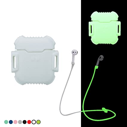 Compatible Apple AirPods Buds Case. Full Protective Cover Portable Silicone Skin with Anti-Lost