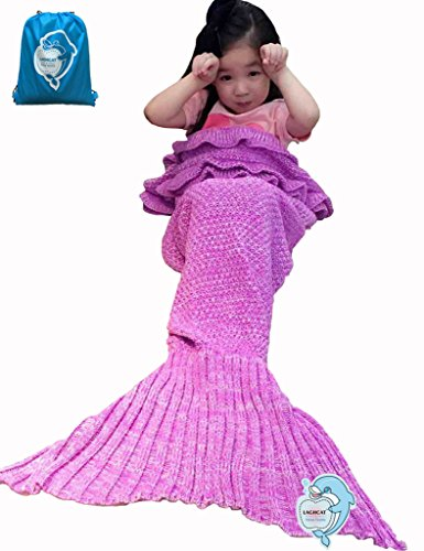 LAGHCAT Mermaid Tail Blanket with the Ruffles on Top Knit Crochet and Mermaid Blanket for Kids,Sleeping Blanket (56