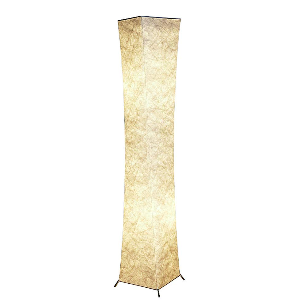 Floor Lamp, CHIPHY Tall Lamp for Living Room, with White Fabric Shade and 2 LED Bulbs, Modern and Contemporary Standing Lamp for Bedroom and Office (10''10''61 inches)