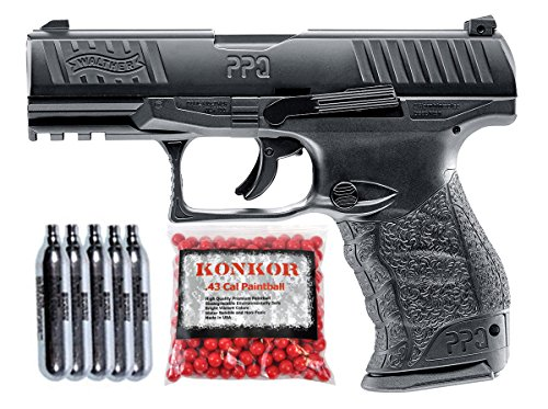 T4E Walther PPQ .43 Blowback Paintball Pistol Super Combo (Black) ()