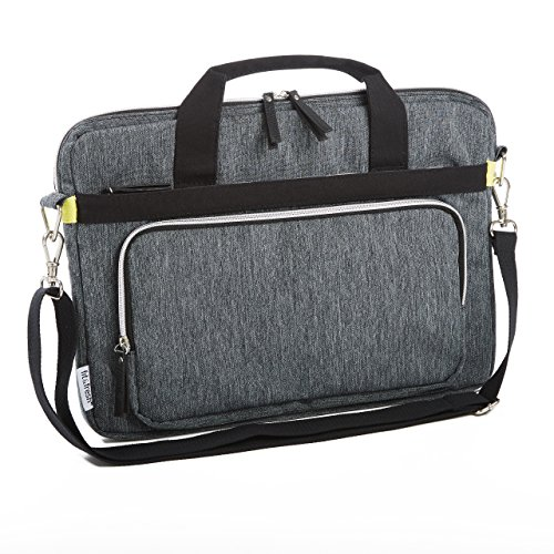 Fit & Fresh Messenger-Style Protective Laptop Bag with Shoulder Strap, Handles & Pocket, fits Apple/Microsoft/Acer/Samsung/Google/Lenovo with up to 15.6'' Displays, Space Dyed, Gray by Fit & Fresh