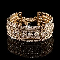 wanmanee Womens Bridal Wedding Jewelry Gold Silver Plated Crystal Bangle Charm Bracelet