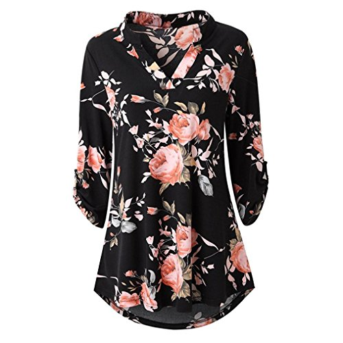 Henleys,Toimoth Womens Short Sleeve V Neck Floral Printed Ruffle Shirt Loose Zipper Tunic Tops (Black e,S) ()