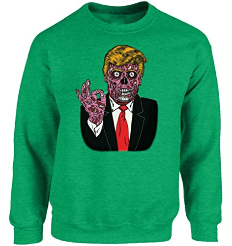 Vizor Unisex Halloween Trump Crewneck Sweatshirts Zombie Trump Halloween Costume Green 4XL