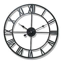 Aero Snail Black Vintage Retro 20-inch Dia Large Iron Metal Indoor Wall Clock