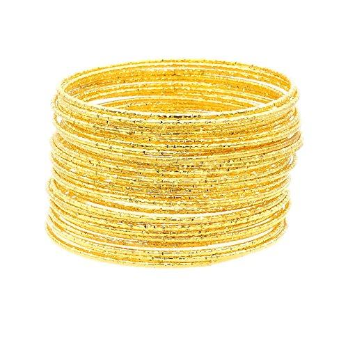 (JSEA G 30pcs Tri-Color Metal Alloy Engraved Stackable Bracelet Bangles Set Women Girls)