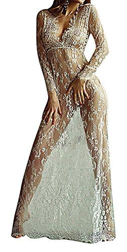 US&R, Women's Transparent Floral Lace Deep V Plunge High Waist Maxi Shift (Deep Plunge Gown)