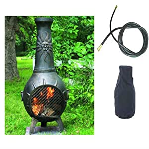 QBC Bundled Blue Rooster Sun Stack Chiminea with Propane Gas Kit, Free Cover, and 10 ft Gas Line Gold Accent Color - Plus Free EGuide