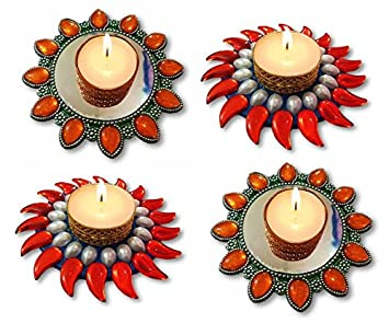 1f473ae2f Buy Unique Arts set of 4 assorted floating kundan diyas - FD120 Online at  Low Prices in India - Amazon.in