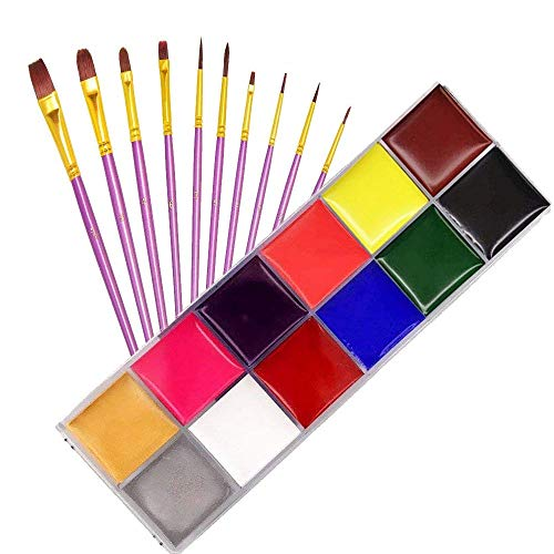 Noxm Professional Palette, 12 Colors Face Body Paint, Non-Toxic Facial Painting Makeup Kit Oil Art Painting for Halloween Party Fancy Dress Tattoo Oil Painting Art Beauty for Adults & Kids -